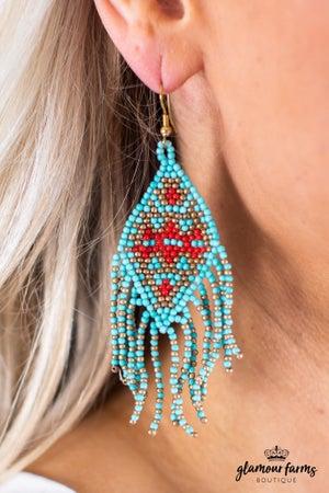 sku14082   Seed Bead Fringe Earrings