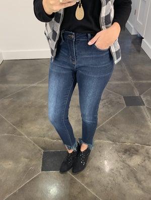 sku17357   Fray Hem Skinny Jeans