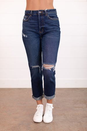 sku16063   Distressed High Rise Cuffed Jeans