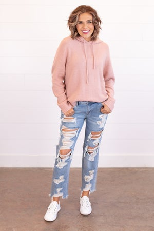 sku16689   Mid Rise Destroyed Boyfriend Jeans