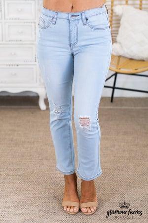 sku13698 | Distressed Bootcut Jeans