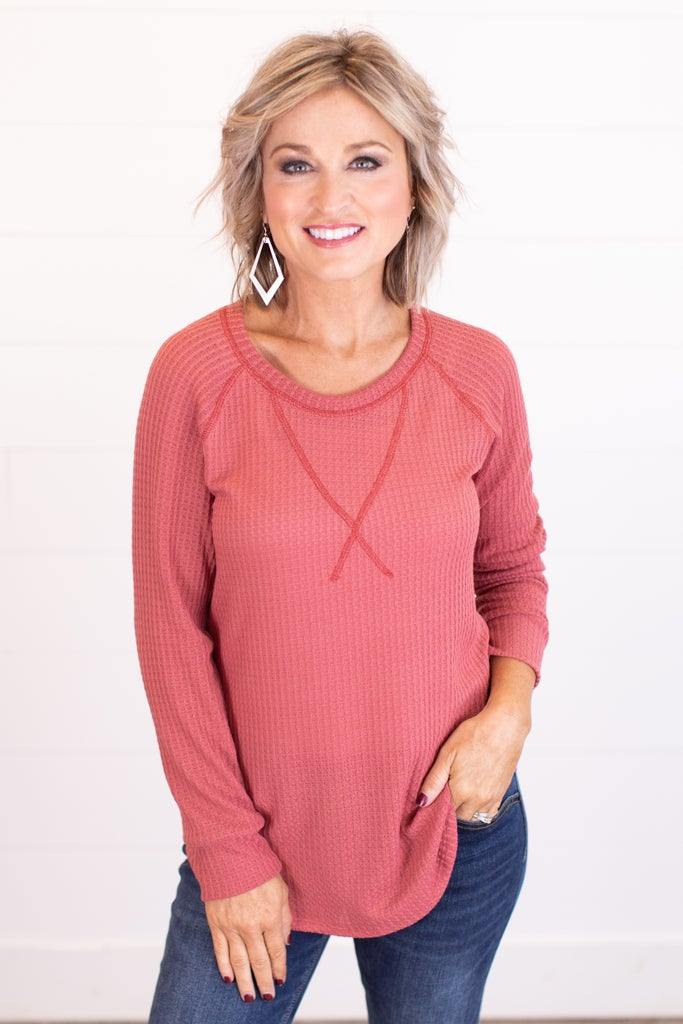 sku17458   **Daily Deal** Waffle Knit Top