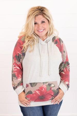 sku16128 | Floral Sleeve Hooded Top