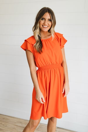sku20026 | Ruffled Sleeve Smocked Waist Dress