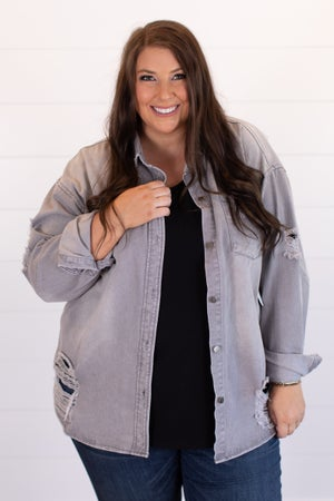 sku15740 | Distressed Button Up Shirt