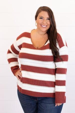 sku15418   Striped V-Neck Sweater