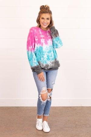 sku16489 | Tie Dyed Color Block Sweatshirt