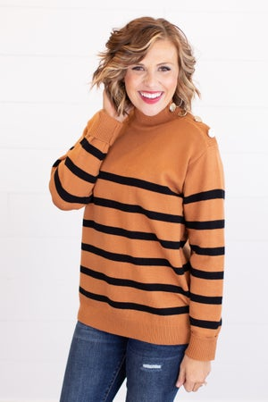 sku17534 | Striped Button Detail Sweater