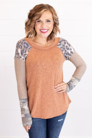 sku17633 | Brushed Knit Exposed Seam Top