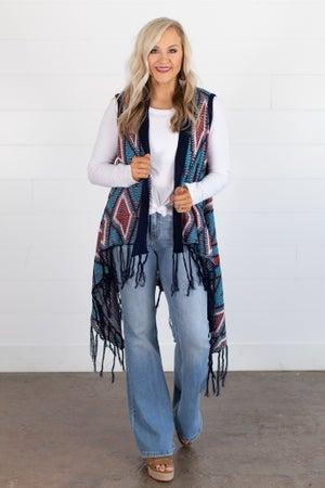 sku14323   **Daily Deal** Aztec Woven Longline Vest