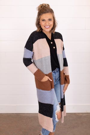sku16507 | Color Block Sweater Cardigan