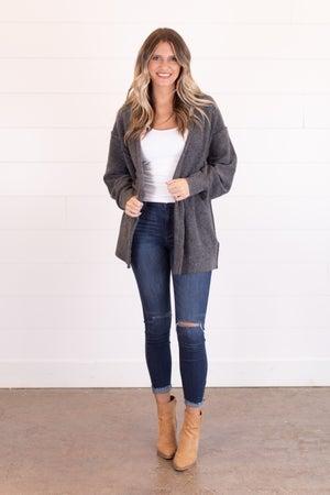 sku16314 | Heathered Knit Sweater Cardigan
