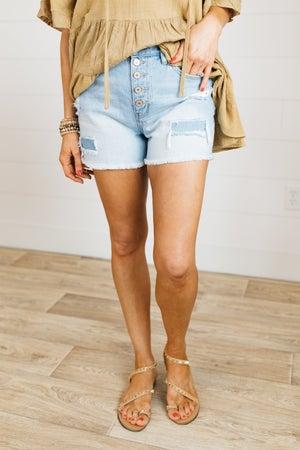 sku21195 | KanCan Distressed High Rise Button Fly Denim Shorts