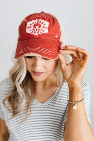 sku18650   Distressed Local Farmers Unisex Baseball Hat