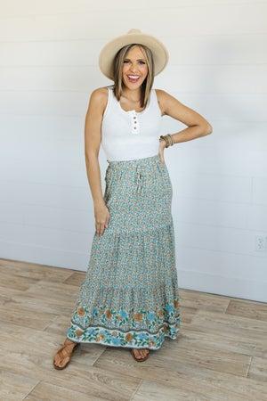 sku20309   Floral Maxi Skirt