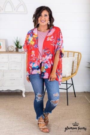 sku15019 | Floral Chiffon Kimono