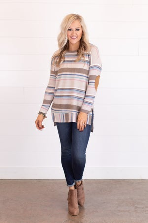 sku17655 | Striped Elbow Patch Top