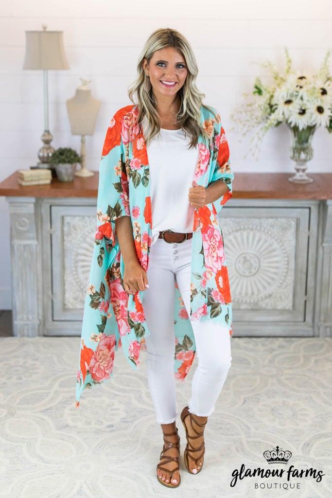 sku8269   Floral Fray Hem Kimono