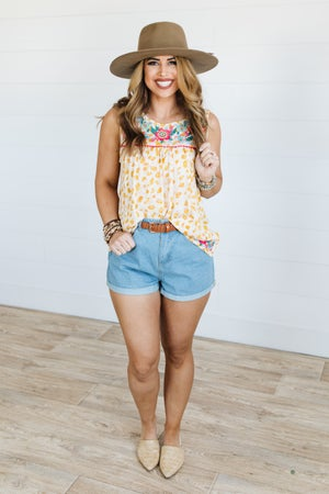 sku20151 | **Daily Deal** Cuffed Hem Denim Shorts
