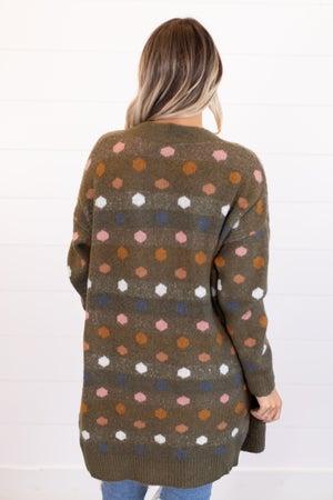 sku16789   Polka Dot Sweater Cardigan