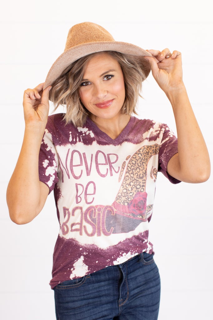 sku16232 | Never Be Basic Bleached Graphic Tee