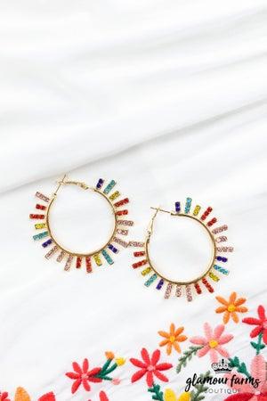 sku13057 | Rhinestone Starburst Hoop Earrings