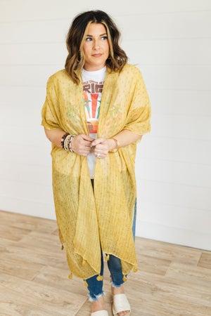 sku21307 | **Daily Deal** Speckled Tassel Kimono