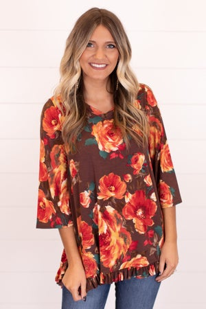sku16413 | Floral Ruffle Top