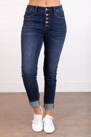 sku17450 | Mid-Rise Button Fly Skinny Jeans