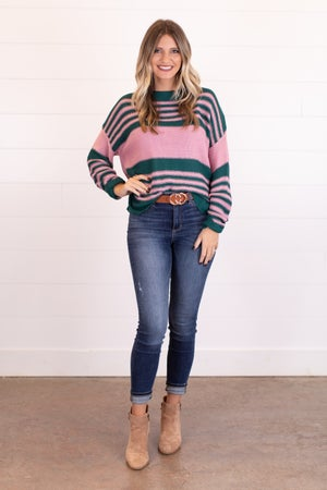 sku14337 | Striped Boat Neck Sweater