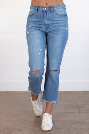 sku15736 | High Waist Straight Leg Boyfriend Jean