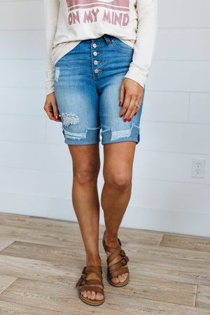 sku19910 | High Rise Distressed Button Fly Bermuda Shorts