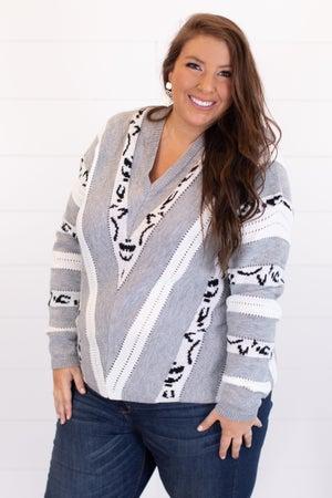 sku15482 | Mixed Knit Chevron Sweater