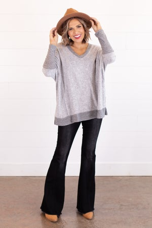 sku16615 | Contrast Knit Oversized Top
