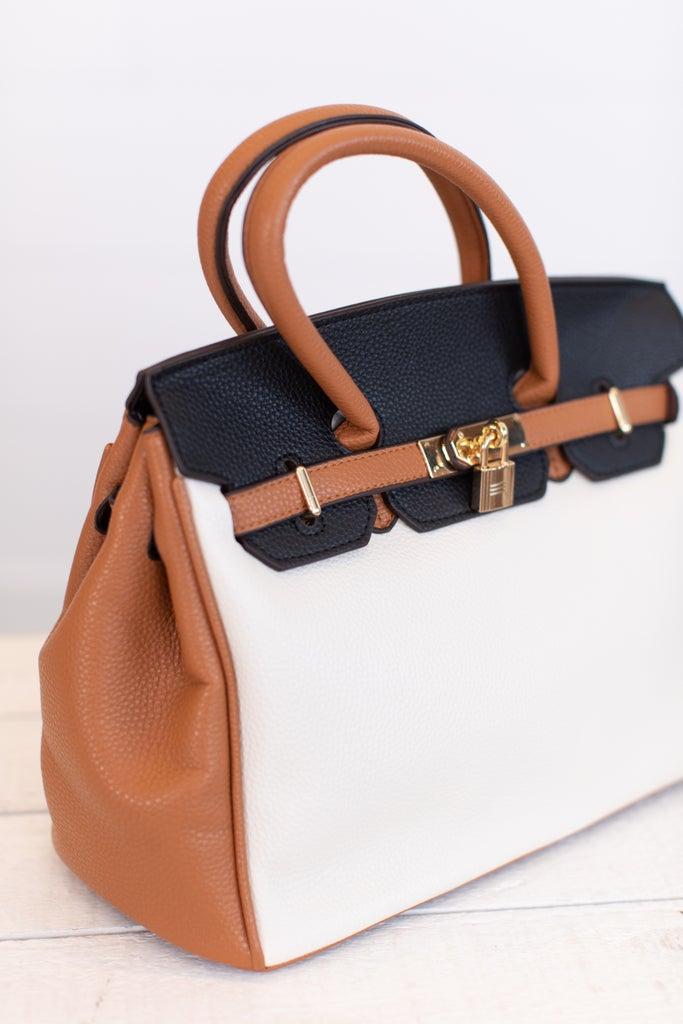 sku16935   Color Block Bowler Handbag