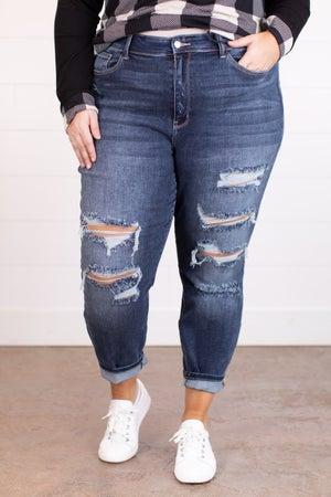 sku17570 | High Rise Destroyed Boyfriend Jeans