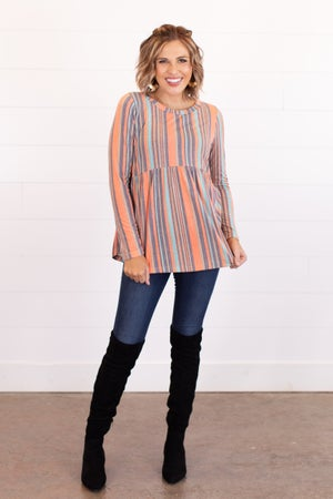 sku16697 | Striped Babydoll Tunic
