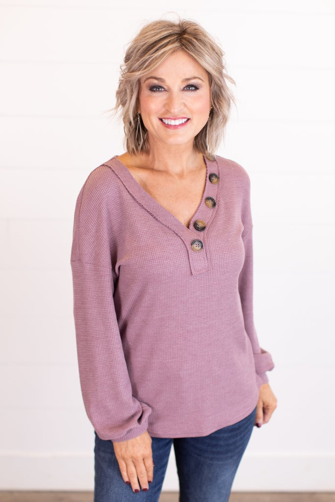 sku17481   **Daily Deal** Waffle Knit Button Detail Top