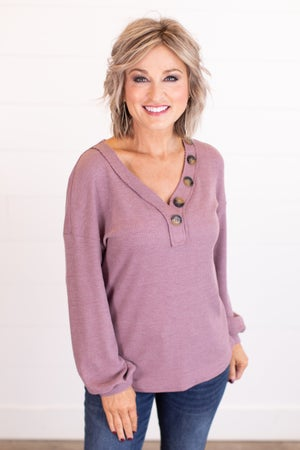 sku17481 | **Daily Deal** Waffle Knit Button Detail Top