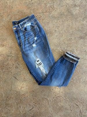 sku14495   Camo Patch Distressed Skinny Jean