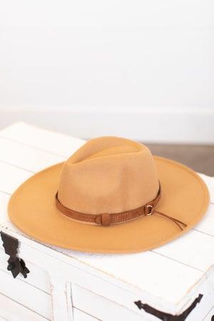 sku16244 | Wide Brim Belted Fedora Hat