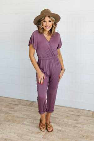 sku19701 | **Daily Deal** Flutter Sleeve Surplice Jumpsuit