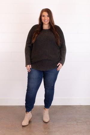 sku17226   Washed Ribbed Knit Sweater