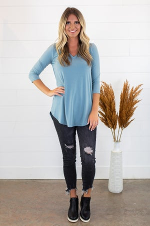 sku15245 | **Daily Deal** Round Hem V-Neck Tunic