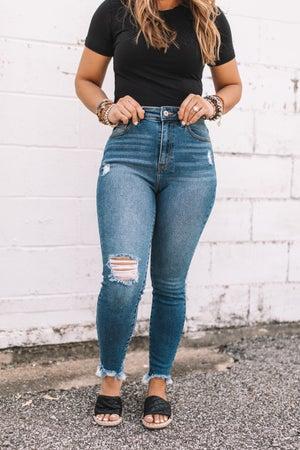 sku20389 | KanCan Distressed High Rise Skinny Jeans