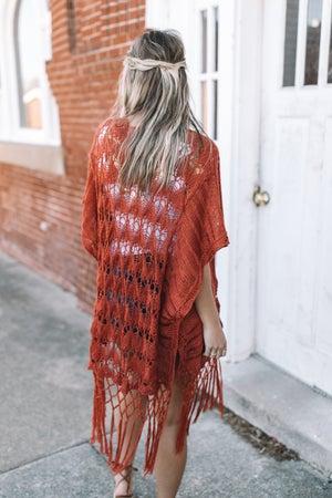 sku18307 | Crocheted Open Knit Cardigan