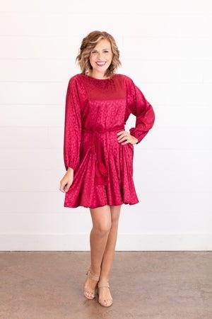 sku17728 | Satin Tassel Belt Dress