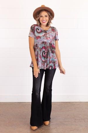 sku16709 | Spiral Tie Dyed Babydoll Tunic