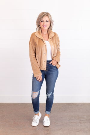 sku16898 | Faux Fur Snap Up Jacket