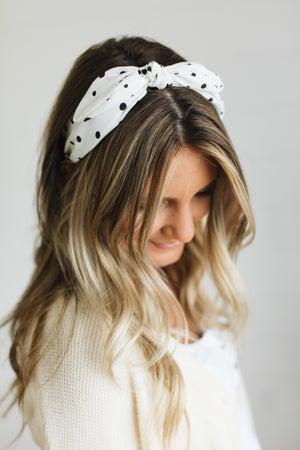 sku20681   Polka Dot Bow Ribbon Headband